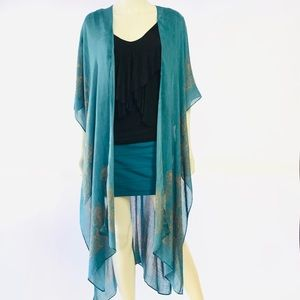 Teal Kimono Cover-up by Love Stitch